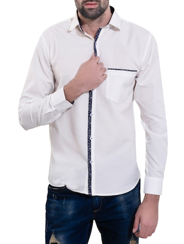 white cotton casual shirt - 14532778 - Standard Image - 1