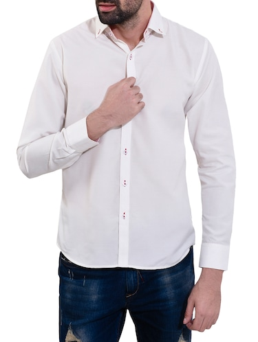 white cotton casual shirt - 14532785 - Standard Image - 1