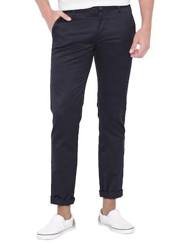 dark blue cotton chinos casual trouser - 14534713 - Standard Image - 1