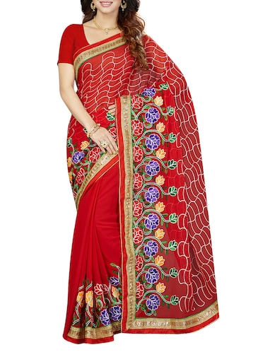 red poly georgette embroidered saree with blouse - 14534919 - Standard Image - 1