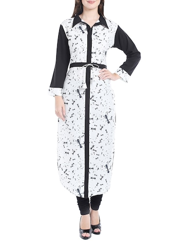 white colored crepe straight kurta - 14535035 - Standard Image - 1