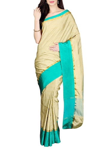 Beige bordered saree with blouse - 14535410 - Standard Image - 1