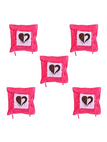 Heart Printed Set Of 5 Cushion Covers - 14535893 - Standard Image - 1