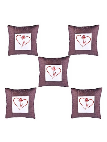 Heart Printed Set Of 5 Cushion Covers - 14535917 - Standard Image - 1