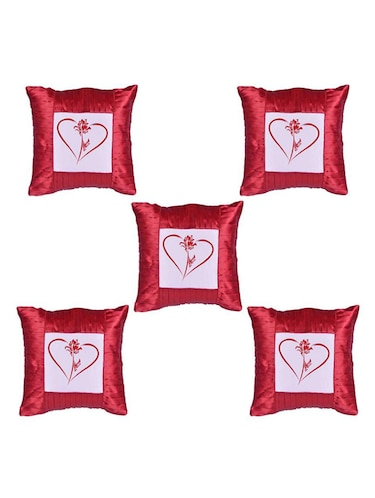 Heart Printed Set Of 5 Cushion Covers - 14535922 - Standard Image - 1