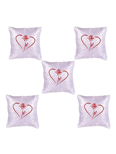 Heart Printed Set Of 5 Cushion Covers - 14535926 - Standard Image - 1