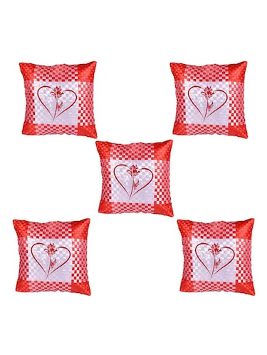 Heart Printed Set Of 5 Cushion Covers - 14535928 - Standard Image - 1
