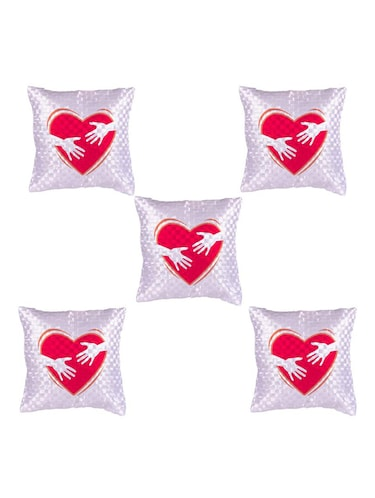 Heart Printed Set Of 5 Cushion Covers - 14535946 - Standard Image - 1
