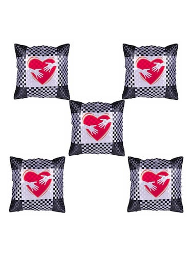 Heart Printed Set Of 5 Cushion Covers - 14535954 - Standard Image - 1