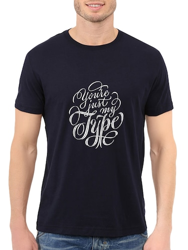 navy blue cotton chest print tshirt - 14536049 - Standard Image - 1
