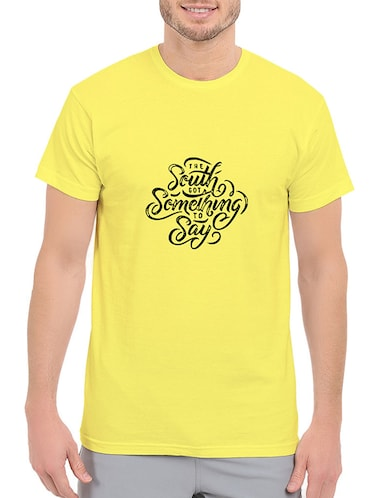 yellow cotton chest print tshirt - 14536074 - Standard Image - 1