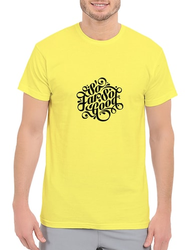 yellow cotton chest print tshirt - 14536327 - Standard Image - 1