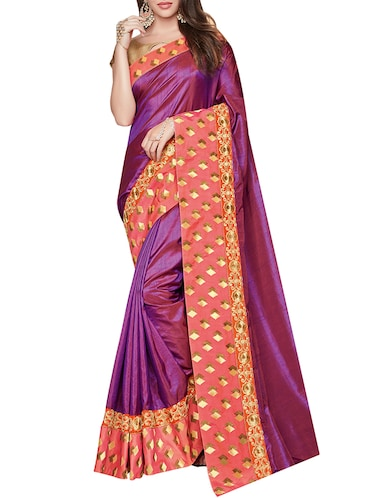 purple silk bordered saree with blouse - 14536492 - Standard Image - 1