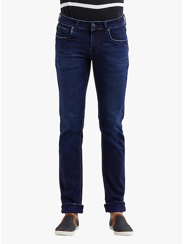 navy blue cotton washed jeans - 14536523 - Standard Image - 1