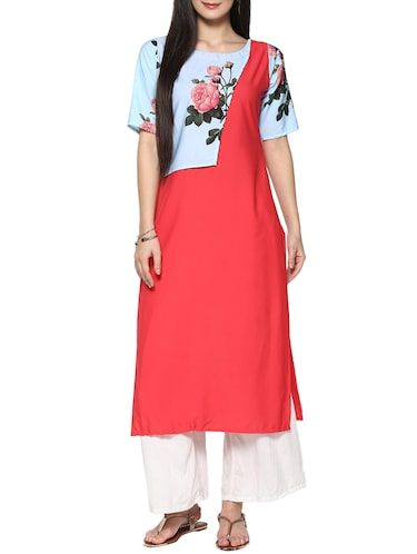 coral red crepe straight kurta - 14536824 - Standard Image - 1