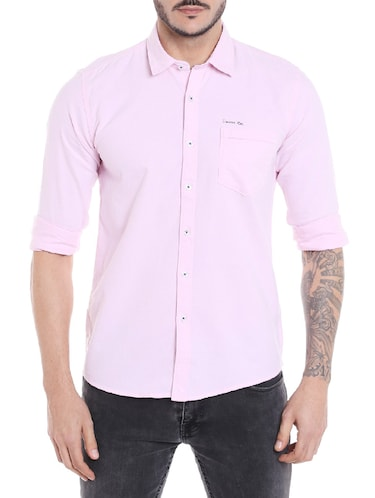 pink cotton casual shirt - 14537493 - Standard Image - 1