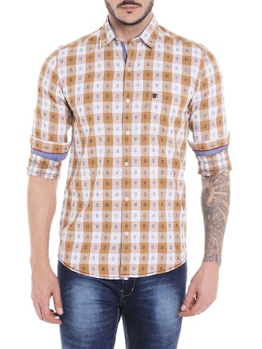 brown cotton casual shirt - 14537500 - Standard Image - 1