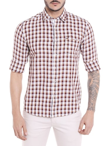 brown cotton casual shirt - 14537503 - Standard Image - 1