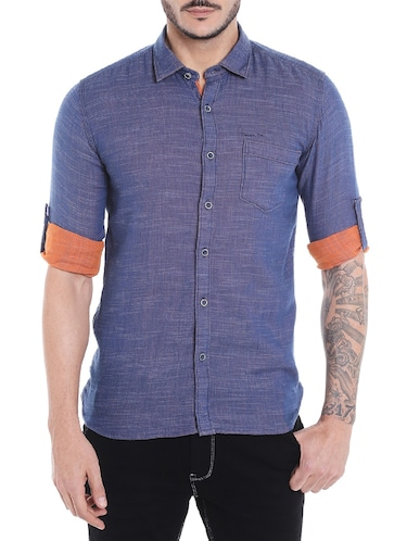 navy blue cotton casual shirt - 14537510 - Standard Image - 1