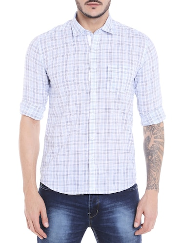 blue cotton casual shirt - 14537527 - Standard Image - 1
