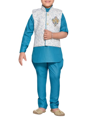 blue cotton blend kurta set and waistcoat - 14537653 - Standard Image - 1