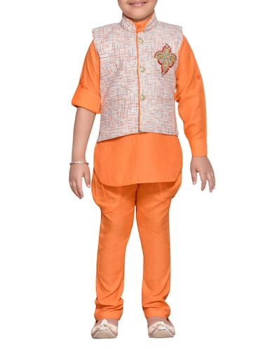 orange cotton blend kurta set and waistcoat - 14537654 - Standard Image - 1