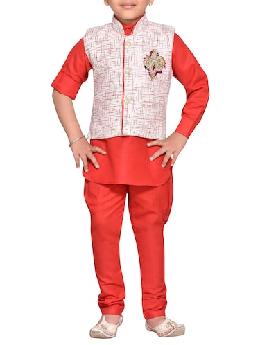 red cotton blend kurta set - 14537655 - Standard Image - 1