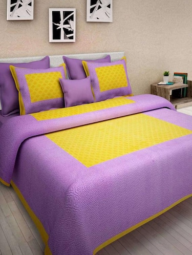 Ethnic Print Double bedsheet with two pillow covers - 14537765 - Standard Image - 1