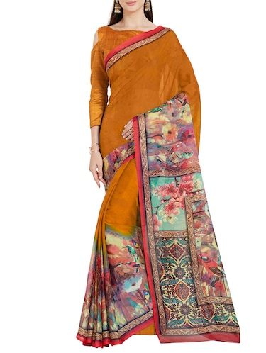 mustard art silk printed saree with blouse - 14538659 - Standard Image - 1