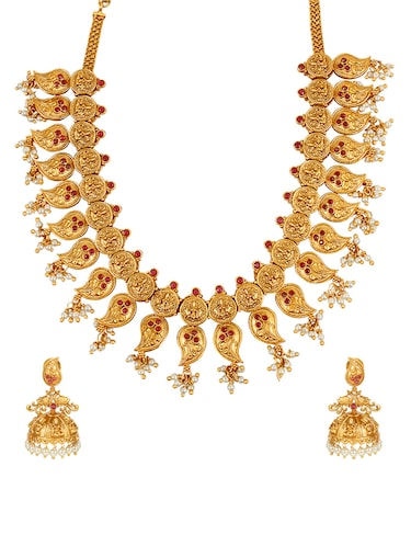Pink Gold Tone Necklace & Earrings Set - 14539794 - Standard Image - 1