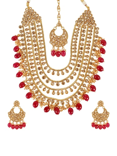 Pink Gold Tone Necklace, Earrings & Maangteeka Set - 14539806 - Standard Image - 1