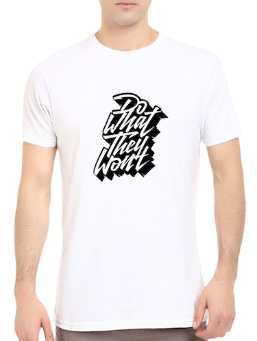 white cotton chest print tshirt - 14539984 - Standard Image - 1