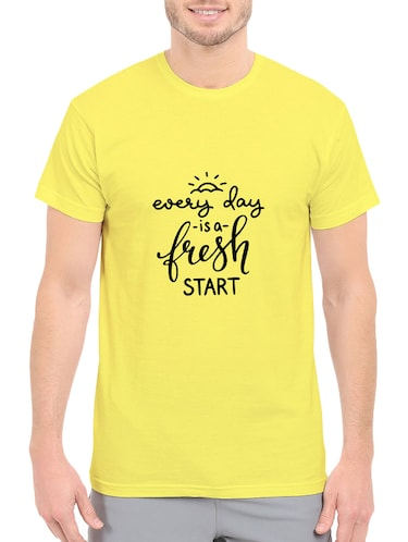 yellow cotton chest print tshirt - 14539995 - Standard Image - 1