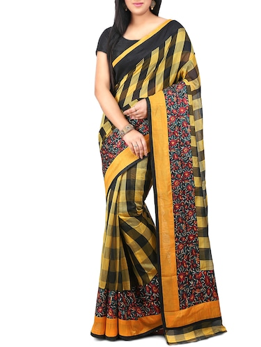 yellow woven saree with blouse - 14540329 - Standard Image - 1