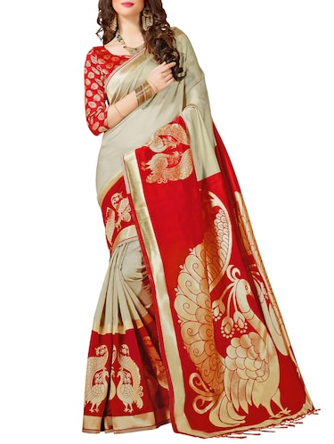 Grey woven saree with blouse - 14540841 - Standard Image - 1