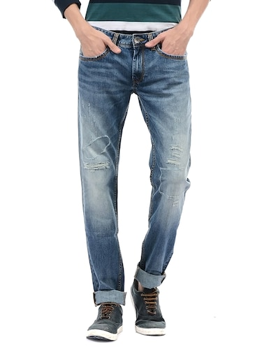 blue cotton ripped jeans - 14542112 - Standard Image - 1