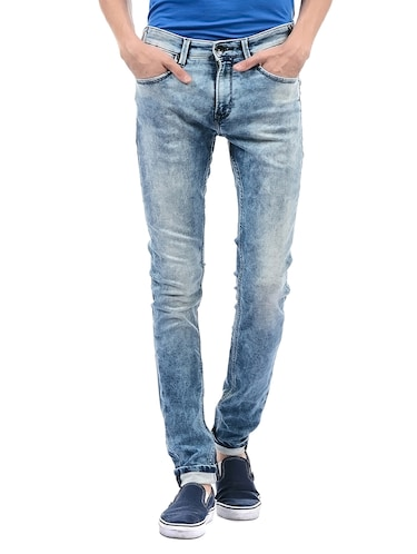 blue cotton washed jeans - 14542113 - Standard Image - 1