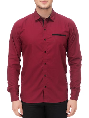 magenta cotton casual shirt - 14542311 - Standard Image - 1