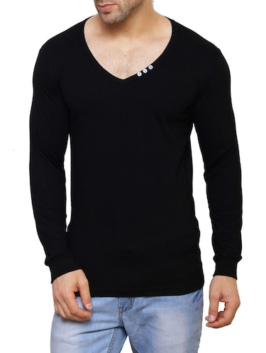black cotton  t-shirt - 14543089 - Standard Image - 1