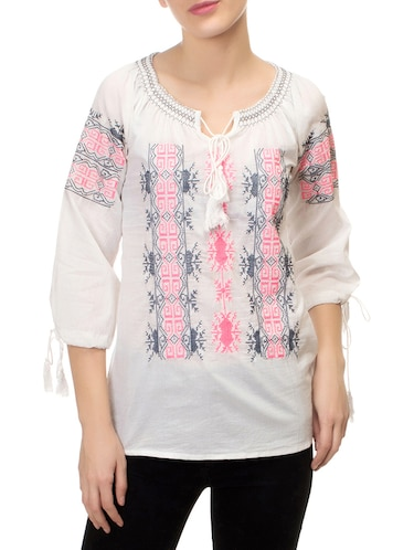 white printed tunic - 14543137 - Standard Image - 1