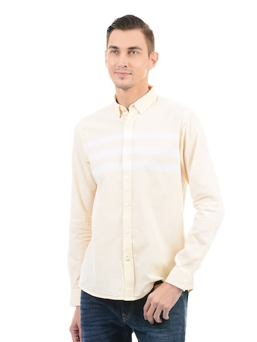 yellow cotton casual shirt - 14543256 - Standard Image - 1