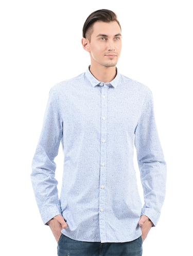 blue cotton casual shirt - 14543261 - Standard Image - 1