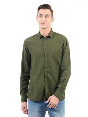 green cotton casual shirt - 14543322 - Standard Image - 1