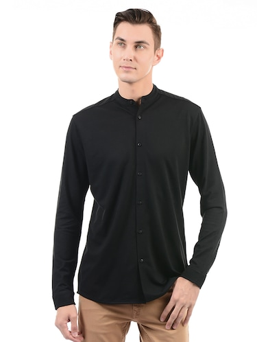 black cotton casual shirt - 14543324 - Standard Image - 1