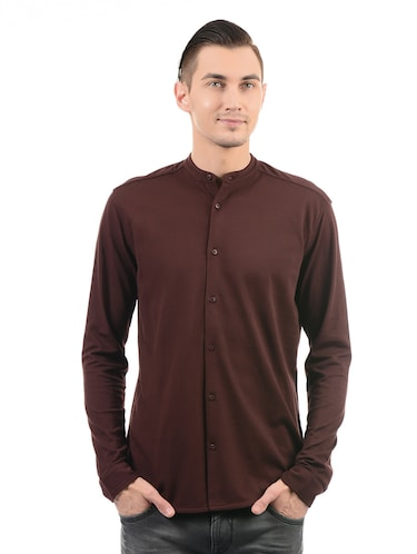 red cotton casual shirt - 14543346 - Standard Image - 1
