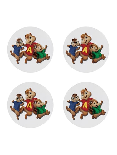 Funny cartoon character printed Set of 4 coasters - 14543437 - Standard Image - 1