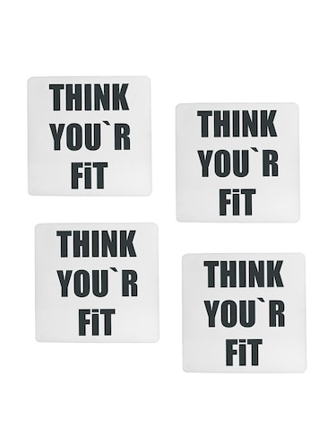Think You are Fit printed Set of 4 coasters - 14543450 - Standard Image - 1
