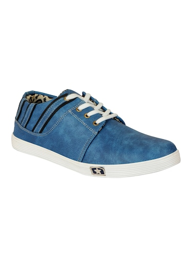 blue leatherette lace up sneaker - 14543740 - Standard Image - 1
