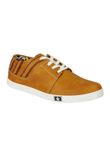 tan leatherette lace up sneaker - 14543742 - Standard Image - 1