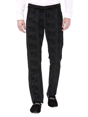 black cotton corduroy casual trousers - 14543922 - Standard Image - 1